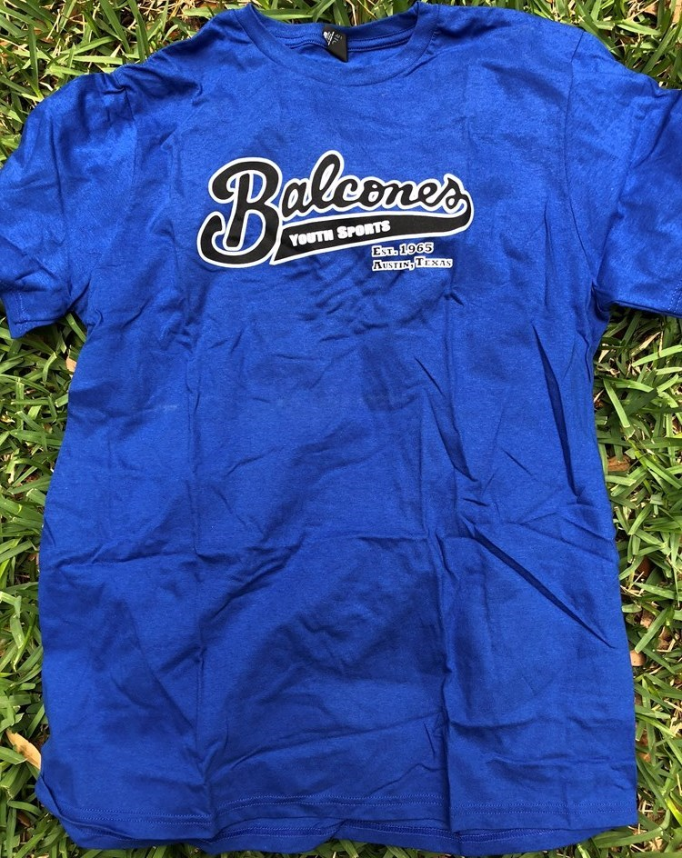 Balcones Youth Sports T-shirt - Blue with Black and White Logo